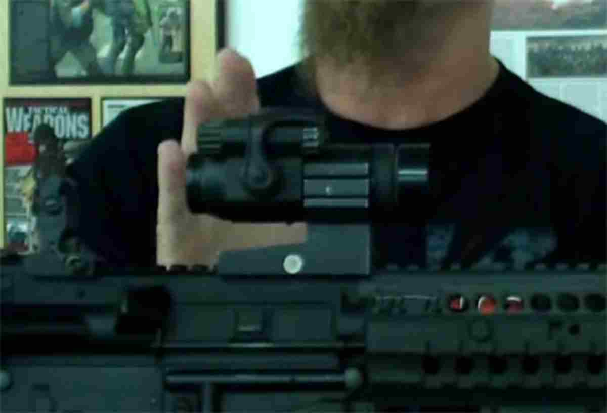 Rear iron sight lined up with a red dot   Tips for Gun Sights   Co-Witnessing Your Sights